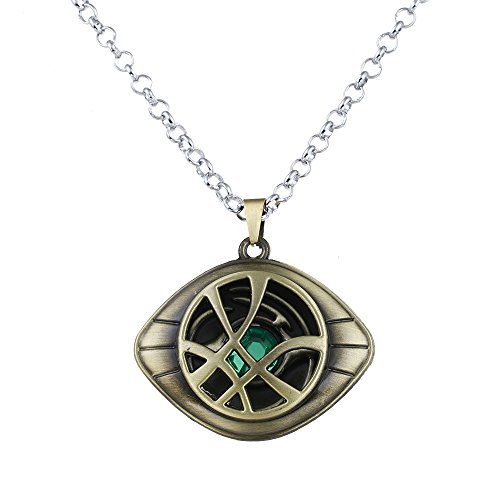 LUREME Doctor Strange Necklace Eye of Agamotto Costume Prop Stone Pendant-Antique Bronze (nl005390-1) -