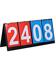 Sport flip-displaybord, wedstrijdbord, sportdisplay teller, draagbaar scorebord, 4-cijferig digitaal wedstrijdbord, voor basketbal, voetbal, honkbalwedstrijden