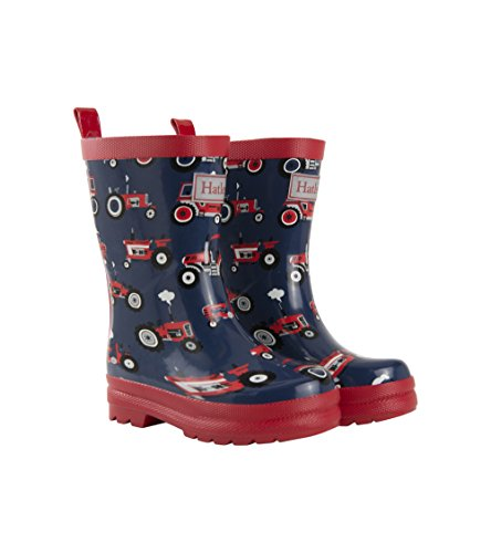 Hatley Boys' Printed Rain Boots Raincoat, Red Farm Tractors, 12 US Child