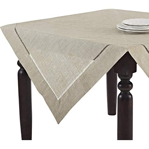 (Handmade Hemstitch Design Natural Tablecloth. One Piece. 40 Inch Square.)