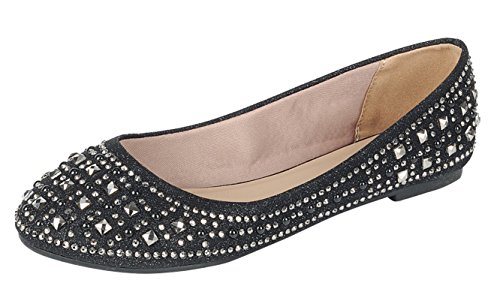 Forever Link Women's Sparkle Bead Crystal Embellished Metallic Dress Ballet Flat Black 8