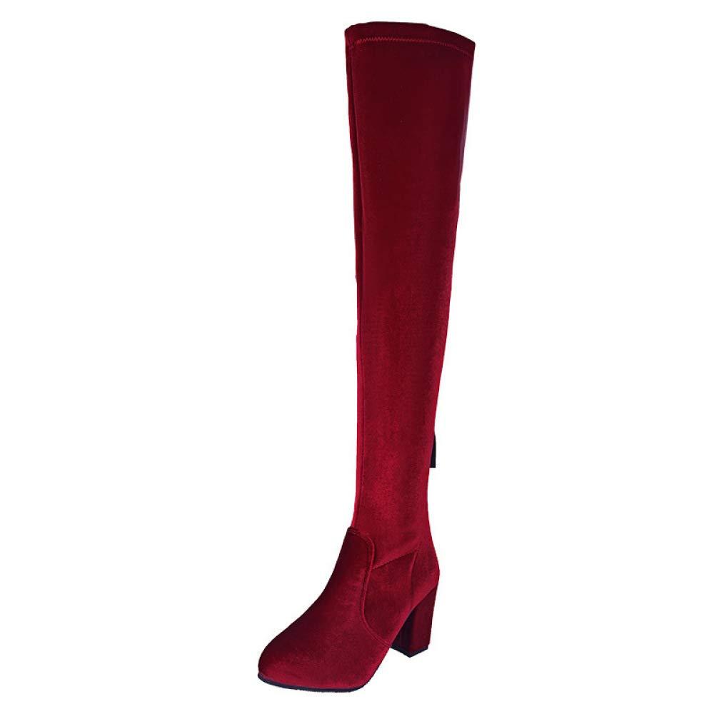 Botas De Mujer Elasticas Tacon Cuadrado Zapatos Botas Altas Sobre La Rodilla Botin AOOEL