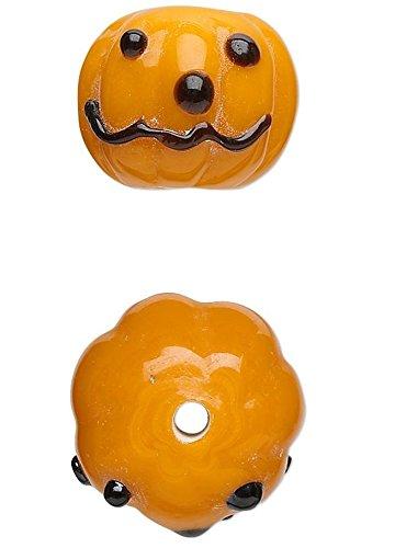 4 Lampwork Glass Orange Pumpkin Halloween Beads for