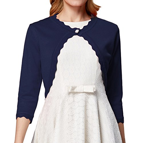 Womens Classic Open Front Cropped Cardigan 3/4 Sleeve L CLAF1062-3 Navy