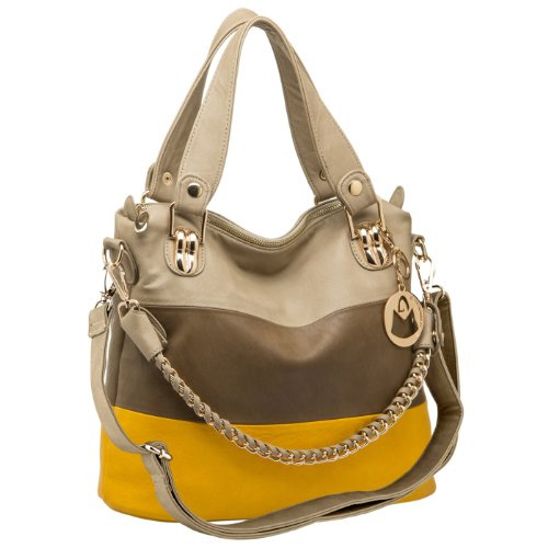 Classic Everyday Hobo (Classic Tri Tone Everyday Hobo Shoulder Bag for Women, Yellow)