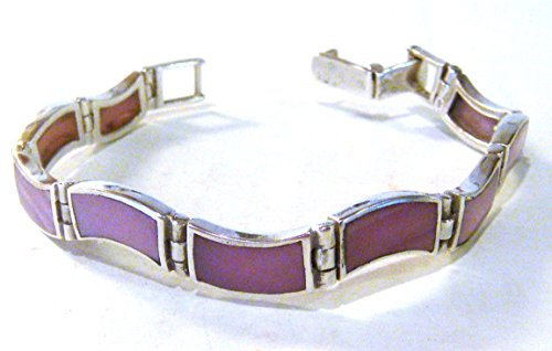 TAXCO .925 Sterling Silver MOP Link Bracelet Handcrafted from Mexico 7.25