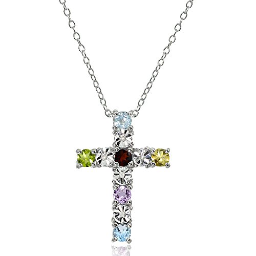 Sterling Silver Multi-Color Gemstone Cross Religious Pendant Necklace