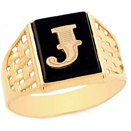 10k Yellow Gold Bold Black Onyx Mens Elegant Basket Weave Initial Letter J Ring - Size 7