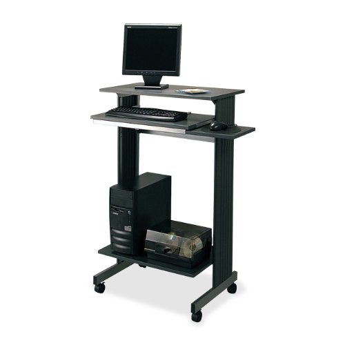 Buddy Products Euroflex Standup Fixed Height Workstation, 19.625 x  44.25 x 29.5 Inches, Charcoal and Silver (6438-36) Buddy Products Printer