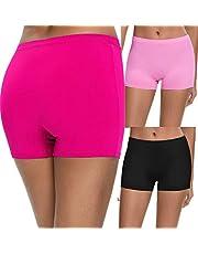 SWOMOG Women's Seamless Boyshort Panty Nylon Spandex Underwear 3-Pack