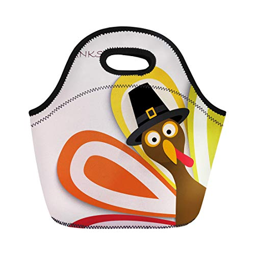 Semtomn Lunch Tote Bag Green Day Happy Thanksgiving Turkey Yellow Dinner America Animal Reusable Neoprene Insulated Thermal Outdoor Picnic Lunchbox for Men Women