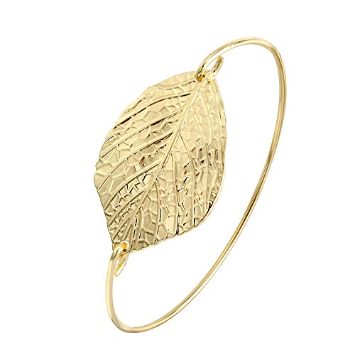 Bracelet Cuff Leaf (SENFAI Gold and Silver Color Female Jewelry Leaf Bangle Bracelet (Gold color))