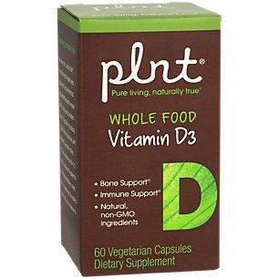 plnt Whole Food Vitamin D3 2,000IU Bone Immune Support, Natural NonGMO Ingredients, Vegan (60 Veggie Capsules)