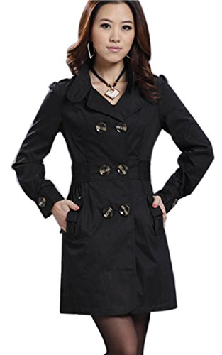 Finejo Women's Trench Charm Double-Breasted Jacket