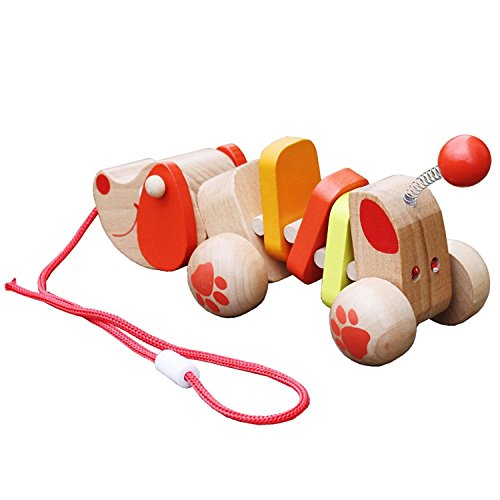 Timy Puppy Wooden Pull Along Toy for Baby Toddler