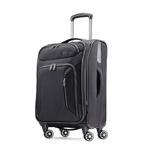 American Tourister Zoom Softside Luggage with Spinner Wheels, Black, Carry-On 21-Inch