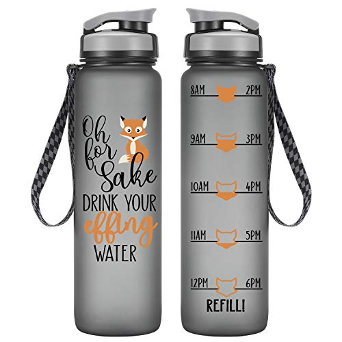LEADO 32oz 1Liter Motivational Tracking Water Bottle with Time Marker - Oh for Fox Sake Drink Your Effing Water - Funny Birthday Gifts for Women, Wife, Mom, Daughter, Best Friend - Drink More Water