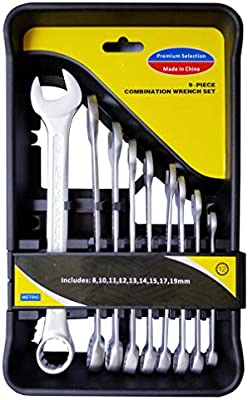 Free Shipping NEW 9 Piece Metric Highly Polished Combo Wrench Set With Case