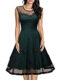 Womens Vintage Floral Lace 2/3 Sleeve Bridesmaid Party Dress