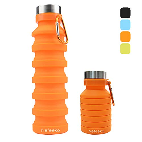Nefeeko Collapsible Sports Water Bottle Foldable Travel Water Bottle BPA Free, FDA Approved Food Grade Silicone Portable Leak Proof Water Bottle Gift for Travel Camping Outdoor Running 18oz (Orange)