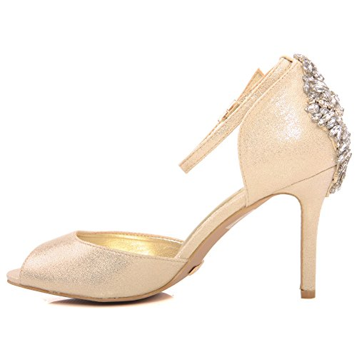 Unze Mujeres 'Coral' Mediados de tacón alto partido Reunión Soiree Carnaval Evening Wedding sandalias zapatos Reino Unido tamaño 3-8 Gold