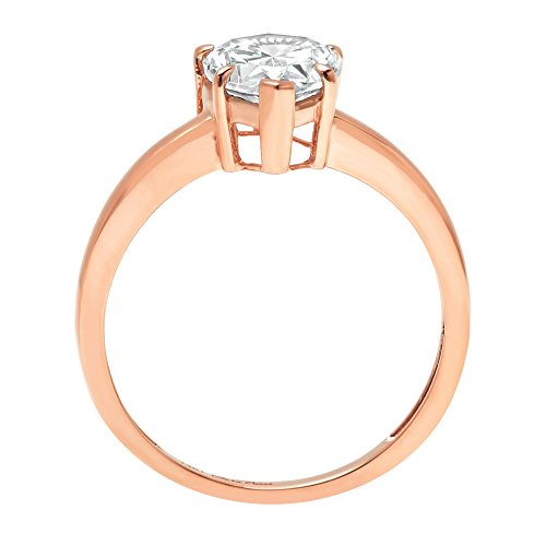 Pear Brilliant Cut Classic Solitaire Designer Wedding Bridal Statement Anniversary Engagement Promise Ring Solid 14k Rose Gold, 1.45ct, 8.25 by Clara Pucci (Image #1)