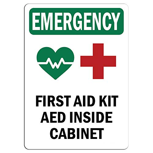 Emergency Sign - First Aid Kit AED Inside Cabinet with Symbol Label Decal Sticker Retail Store Sign Sticks to Any Surface 8