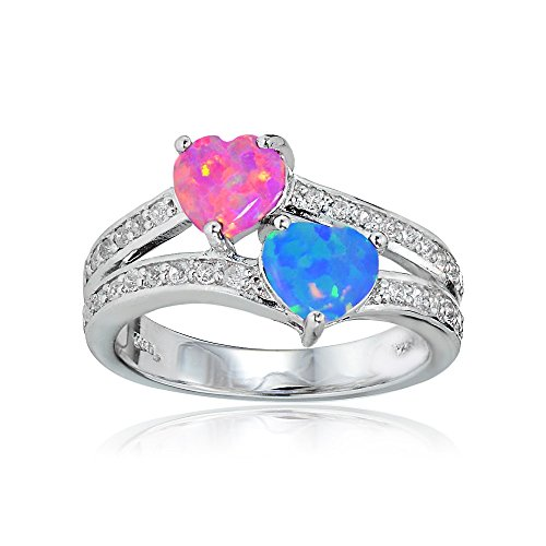 Sterling Silver Created Pink and Blue Opal and White Topaz Double Heart Friendship Ring, Size 7 Double Created Opal Ring