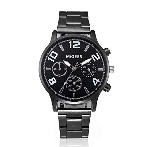 Digital Titanium Bracelet - LtrottedJ Fashion Man Crystal Stainless Steel Analog Quartz Wrist Watch (A)