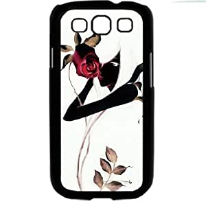 White Glamorous Elegant Cartoon Beautiful Girl with rose Samsung Galaxy S3 SIII I9300 TPU Soft Black or White case (Black)
