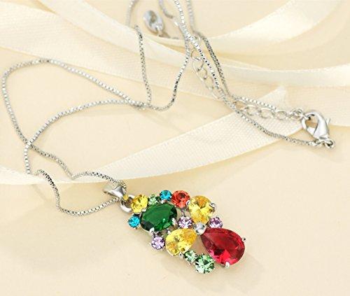 NEOGLORY Conjunto de Joya Collar Pendientes Flor de Colores con Cristales SWAROVSKI Joya Original Regalo Mujer Chica