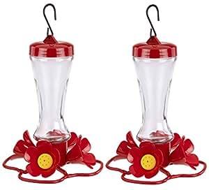 (2unidades) Stokes Select Impatiens colibrí alimentador con cuatro puertos de alimentación, 8fl oz néctar capacidad del alimentador