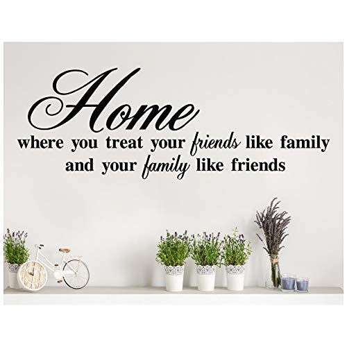 Home Where You Treat Your Friends Like Family and Your Family Like Friends Vinyl Lettering Wall Decal Sticker (16