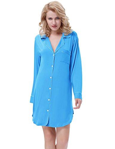 Women Sleep Shirts Dress Button Front Cotton Pajamas Plus Sky Blue Size XL ZE35-4