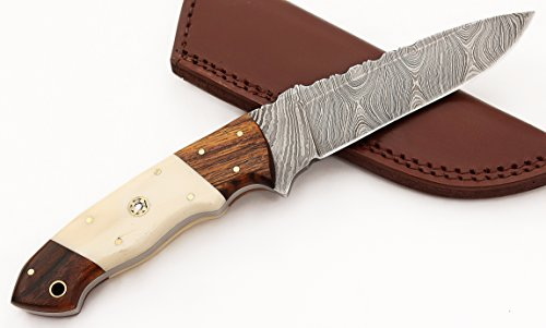 W Trading Custom hand made damascus steel blade gorgeous hunting knife with leather pouch. (2709)
