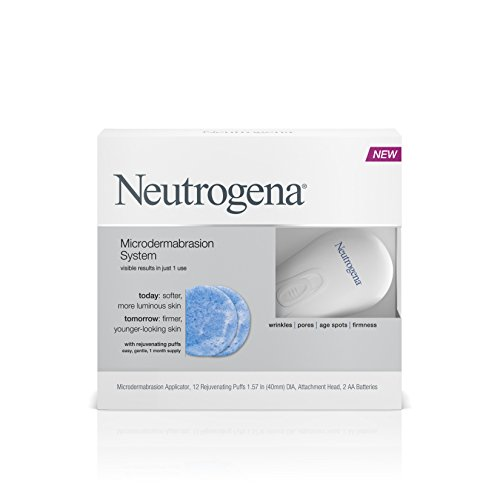 Neutrogena Microdermabrasion Starter Kit - At home microdermabrasion machine - Skin Exfoliator with Glycerin - Skin Firming, Pore Minimizer, Age Spot Remover- 1 month supply, 1 ct ()