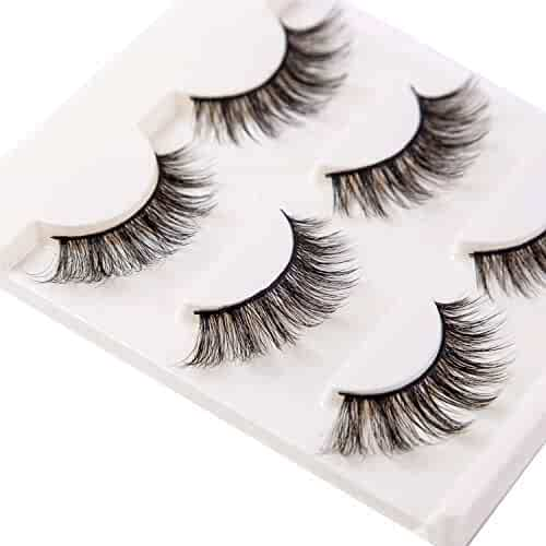 3D False Eyelashes Extensions 3 Pairs Long Lashes Strip with Volume for Women's Makeup Handmade Soft Fake Eyelash