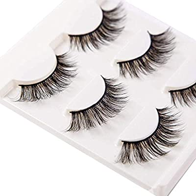 56d0aaa7631 Amazon.com : 3D False Eyelashes Extensions 3 Pairs Long Lashes Strip with  Volume for Women's Make Up Handmade Soft Fake Eyelash : Beauty