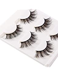 3D False Eyelashes Extensions 3 Pairs Long Lashes Strip with Volume for Women's Make Up Handmade Soft Fake Eyelash