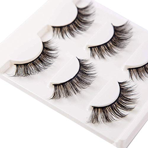 3D False Eyelashes Extensions 3 Pairs Long Lashes Strip with Volume for Women's Make Up Handmade Soft Fake Eyelash]()