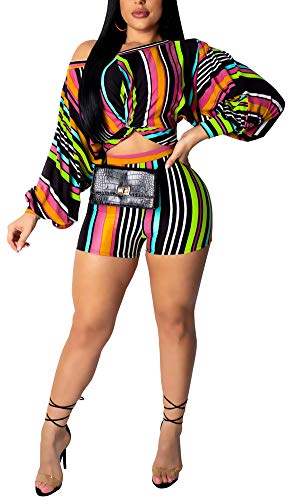 Cotton Two Piece Romper - Halfword Women Plus Size Two Pieces Outfits Multicolor Striped Printed - Sexy Fashion Off Shoulder Bubble Sleeve Jumpsuits Green L