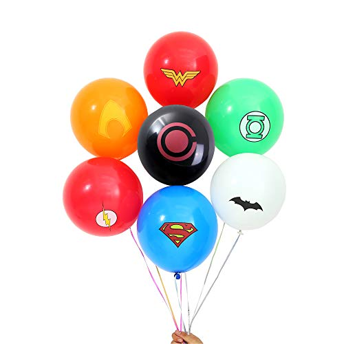 Justice League Superhero Emblem Balloons - 140 Pack for Party Supplies, Birthday, Carnival Festival, Ceremony (Assorted Superheros) -