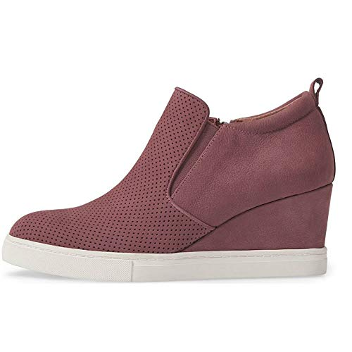 Wedge Comfort Womens 1 Red Faux wine Shoes Sneakers Casual Platform Booties Ankle Leather Heel Zipper 4wgzdwqr
