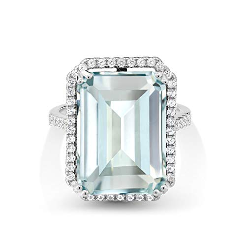 Gem Stone King 925 Sterling Silver Sky Blue Simulated Aquamarine Women's Ring, 18x13mm Emerald Cut, 16.30 Cttw (Size 6)