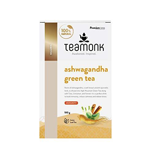 Teamonk Ashwagandha Green Tea Loose Leaf (50 Cups) | 100% Natural Ashwagandha Tea
