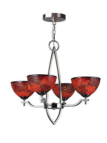 (Woodbridge Lighting 16414STN-M60RDD 16414STN Alexis 4-Light Chandelier, Mosaic Red)