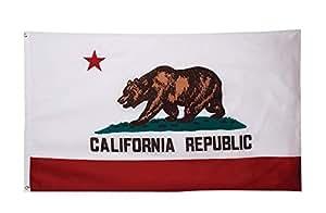 wowmar California bordado bandera 3x 5pies bandera de Nylon con protección UV impermeable con bordado de doble cara resistente latón arandelas interior/exterior