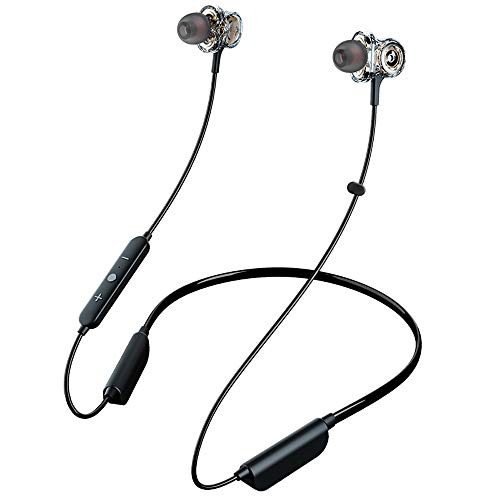 HWZDQLK Bluetooth 5.0 Wireless Headphones - 6D Sound Effect - Up to 28 Hours Per Charge, High-End Premium Deep Bass, IPX8 Waterproof Sport in-Ear Earphones - Neckband for Running and Workouts w/Built