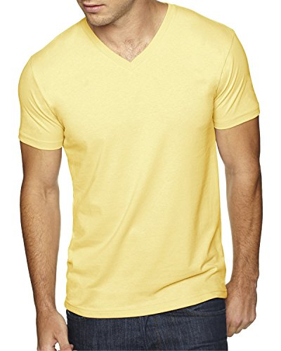 Next Level Men's Premium Sueded Short Sleeve V-Neck T-Shirt, M, BANANA CREAM (Banana Cream Level Next)