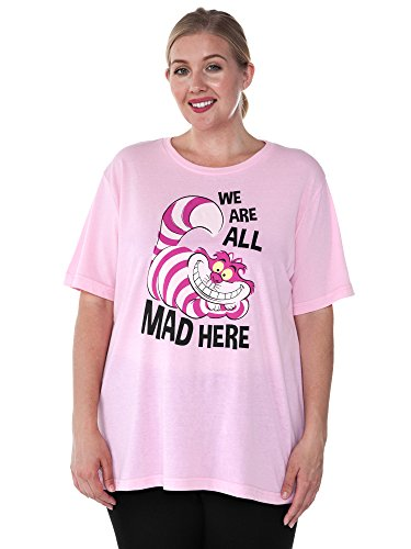 Disney Womens Plus Size T-Shirt Cheshire Cat Alice in Wonderland (Pink, 1X)
